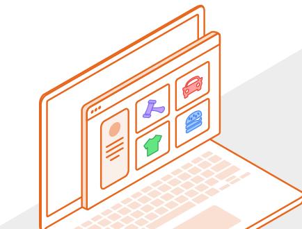 Browserfenster mit Themenicons
