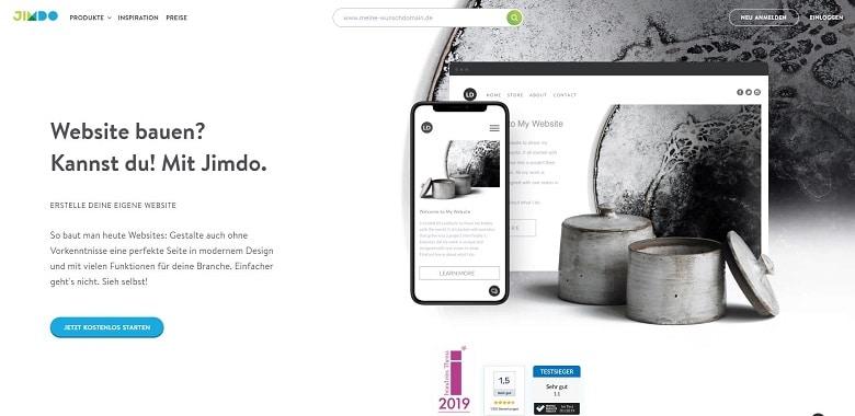 Webseite-Baukasten für Freelancer Jimdo, Ansicht der Homepage