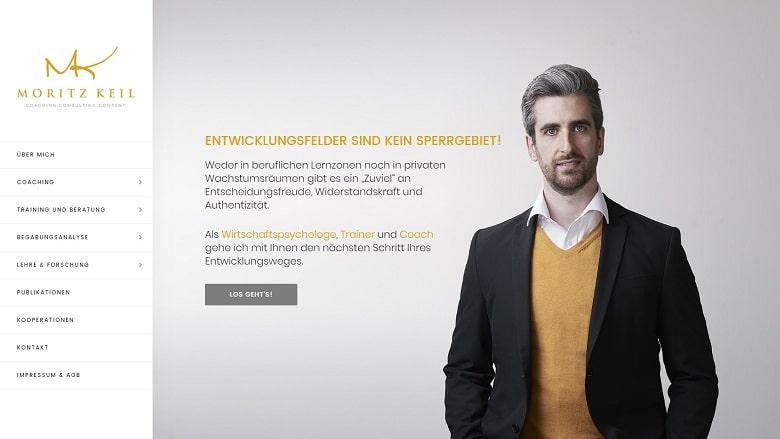 Beispiel für die Webseite eines Freelancers: Coach Moritz Keil