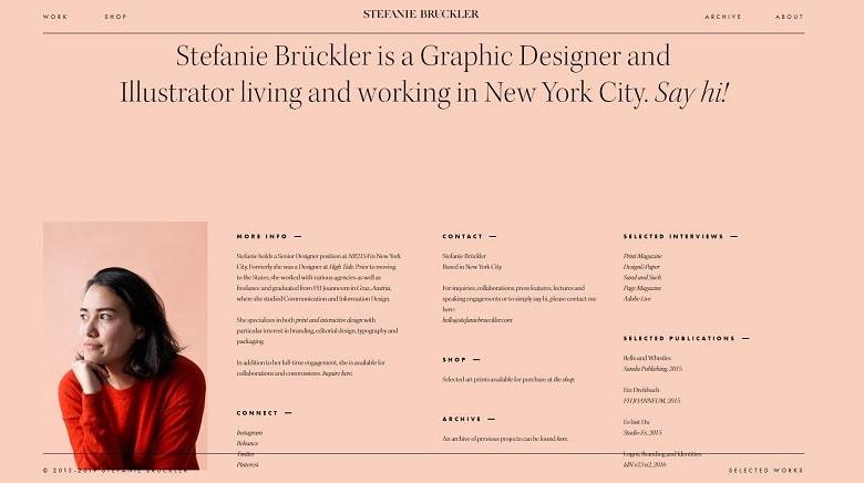 Beispiel für Webseite eines Freelancers: Graphic Designer Stefanie Brückler