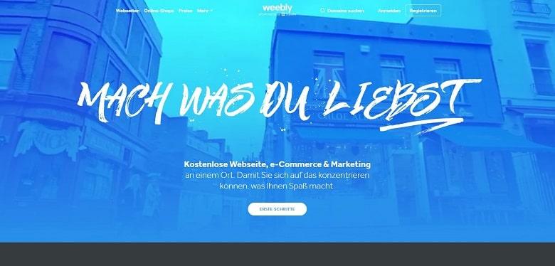 Webseite-Baukasten für Freelancer Weebly, Ansicht der Homepage