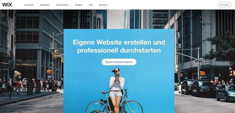 Webseite-Baukasten für Freelancer Wix, Ansicht der Homepage