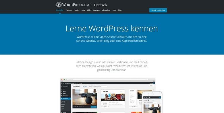 Webseite für Freelancer mit Content-Management-System WordPress, Ansicht der Homepage