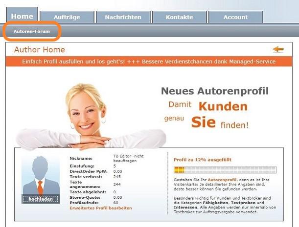 Ansicht der Homeseite des Textbroker-Autorenaccounts