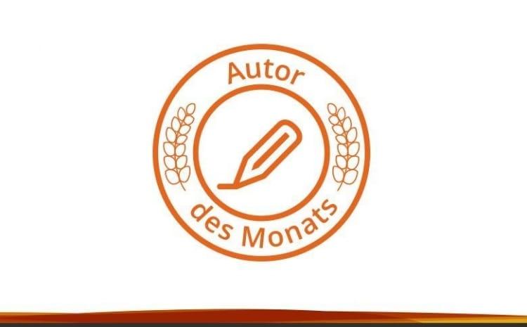 """Stilisiertes Logo mit einem Stift, zwei Lorbeerzweigen und dem Schriftzug """"Autor des Monats"""""""