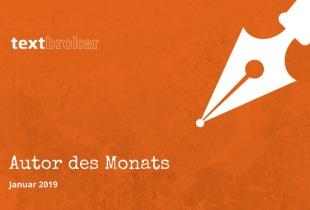 """Orangefarbenes Banner mit weißer Füllfeder und der Aufschrift """"Textbroker Autor des Monats Januar 2019"""""""
