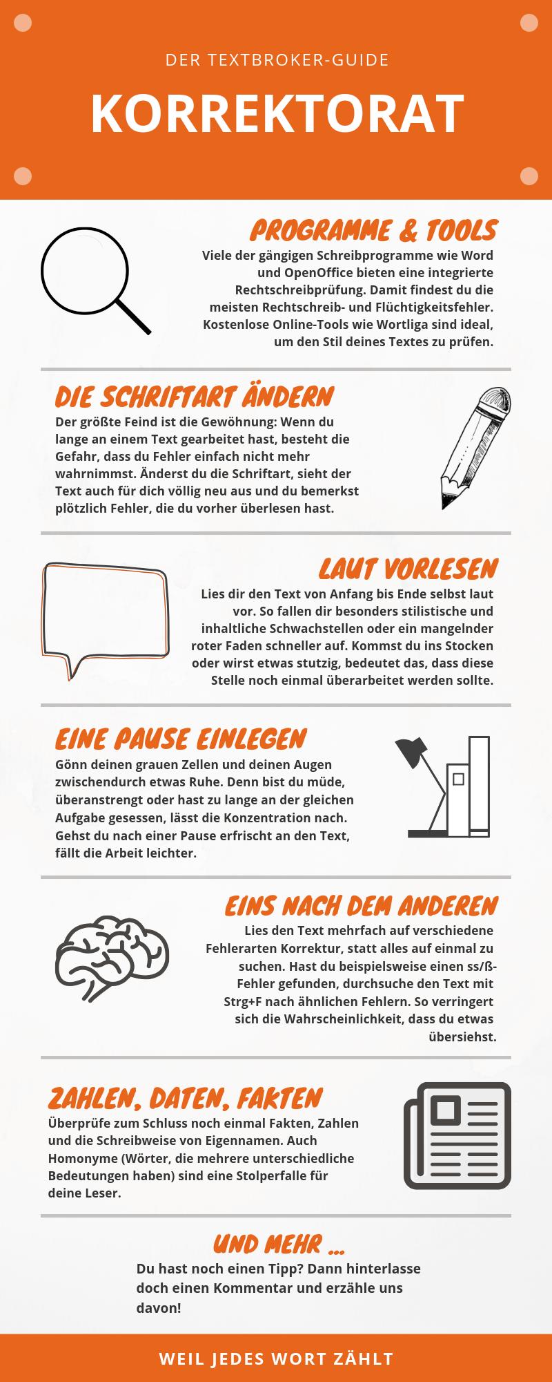 Infografik mit 6 verschiedenen Tipps zum Thema Korrekturlesen