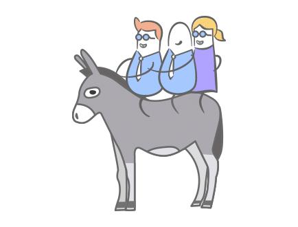Drei Menschen auf einem Esel