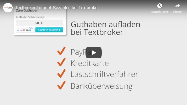Bezahloptionen bei Textbroker