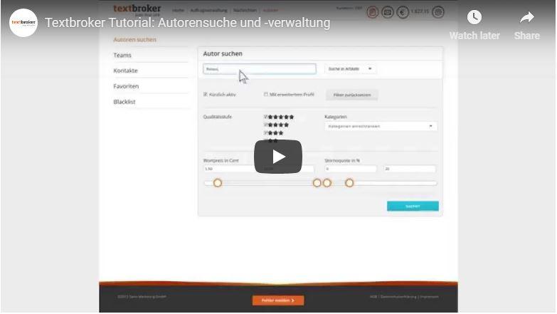 Textbroker Autorensuche- und-Verwaltung