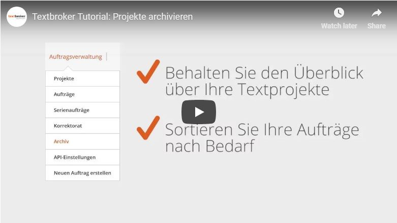 Textbroker-Projekte archivieren