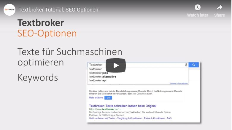 Textbroker SEO-Optionen