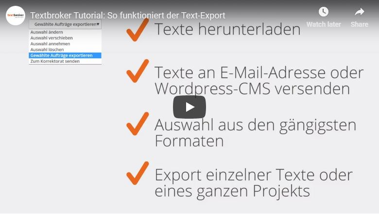 Textbroker Text-Export