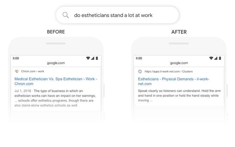 Beispiel-Suche Vorher-Nachher BERT-Update