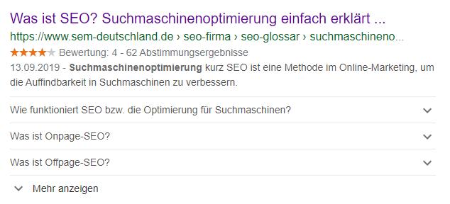 FAQ zur Suchmaschinenoptimierung