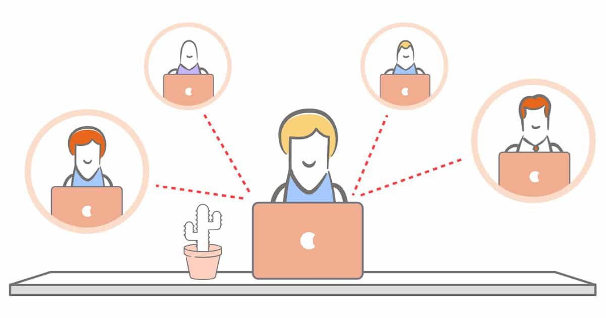 Grafik mit Männchen vor einem Laptop, um es herum 4 Kreise in denen jeweils auch Männchen vor Laptops sind.