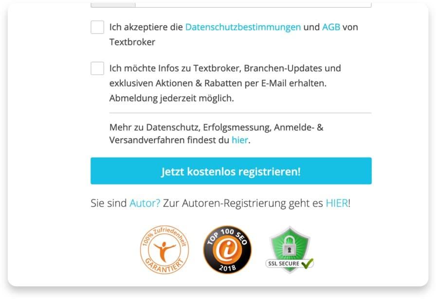 Textbroker Registrierung