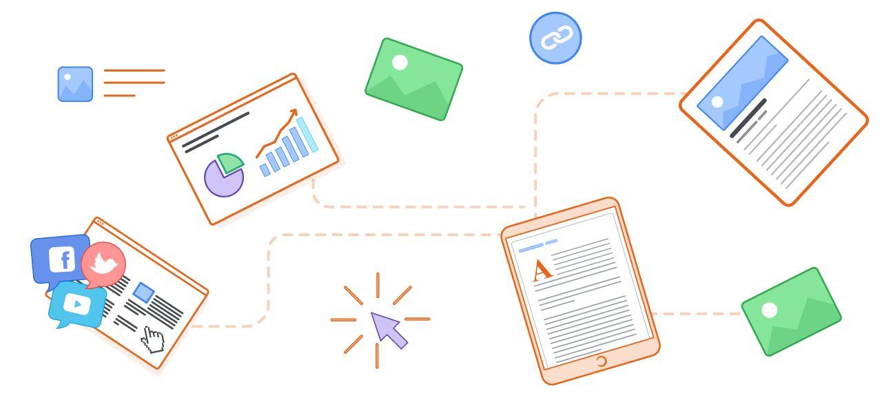 Grafik mit unterschiedlichen Content-Arten
