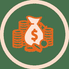 Münzen und Geldsäcke