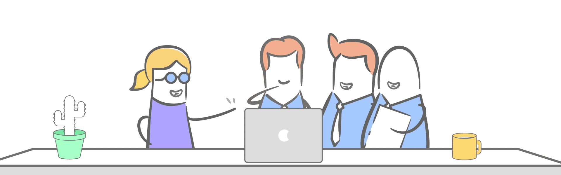 Illustration mit 4 Personen um Laptop