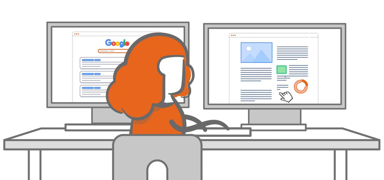 Frau vor 2 Bildschirmen mit Aufschrift Google
